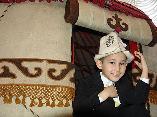 Kyrgyz boy with Kalpak hat
